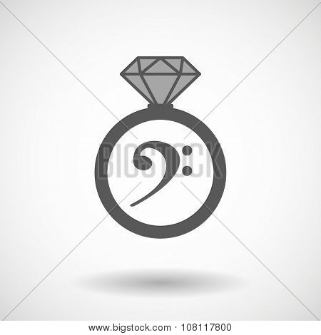 Isolated Vector Ring Icon With An F Clef
