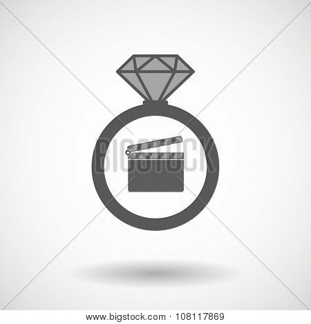 Isolated Vector Ring Icon With A Clapperboard