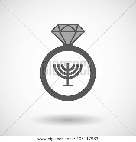 Isolated Vector Ring Icon With A Chandelier