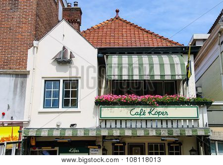 Original Building Design Of Cafe Koper. View From Kerkplein Street. Zandvoort, The Netherlands