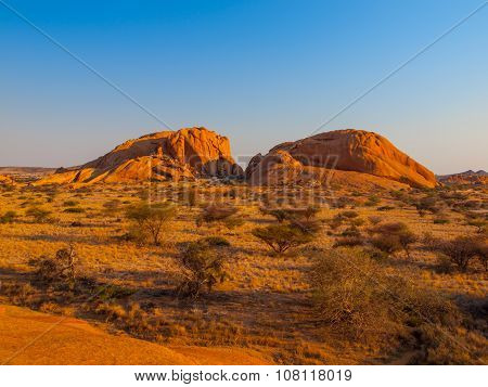 Massive granite rock formations in namibian Spitzkoppe area