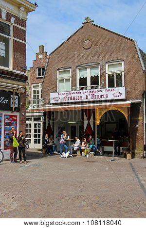Tourists Wakling On The Popular Shop And Restaurant Street Kerkplein In Zandvoort, The Netherlands.