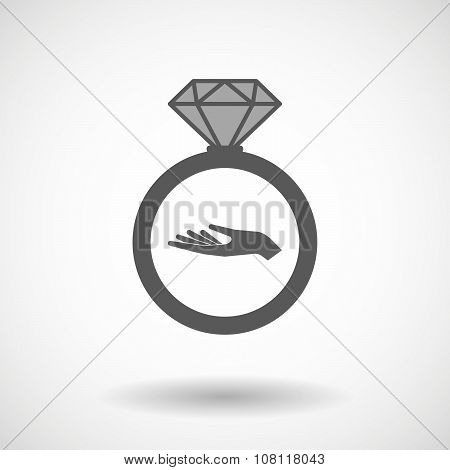 Isolated Vector Ring Icon With A Road Cone