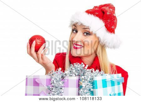 Happy Christmas Or Santa Claus Woman With Shopping Bags - Gift. Isolated On White, Close Up