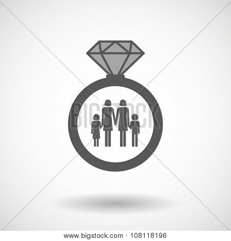 Isolated Vector Ring Icon With A Lesbian Parents Family Pictogram