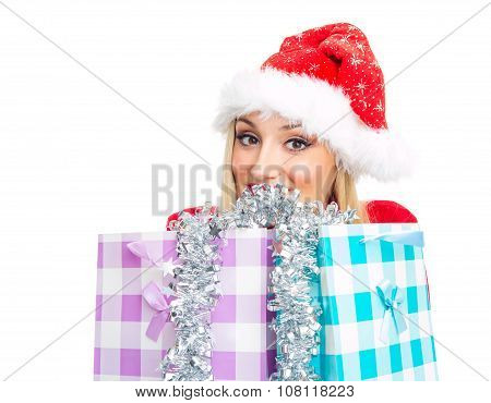 Smile Christmas Woman Behind Shopping Bags. Isolated On White, Close Up