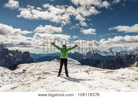 Woman hiker on  mountain top