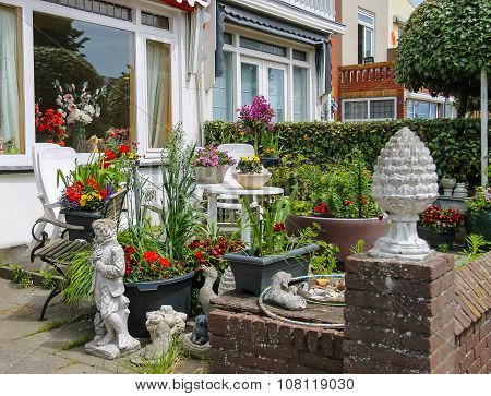 Street View Of Traditional House Decorated With Plants And Flowers In Zandvoort, The Netherlands