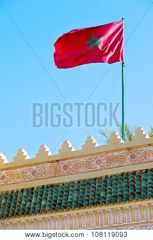 Tunisia  Waving Flag In The Blue   Colour And Battlements