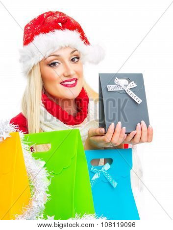 Happy Santa Claus Woman Holding Gift, Close-up
