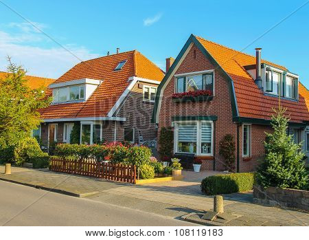 Picturesque Residential Houses In Small Dutch Town Zwanenburg, The Netherlands