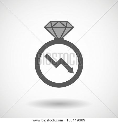 Isolated Vector Ring Icon With A Descending Graph