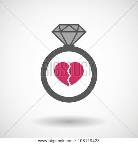 Isolated Vector Ring Icon With A Broken Heart