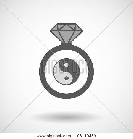 Isolated Vector Ring Icon With A Ying Yang