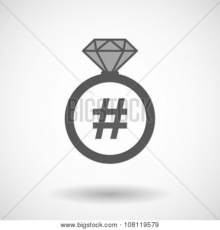 Isolated Vector Ring Icon With A Hash Tag