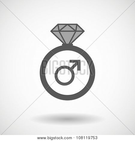 Isolated Vector Ring Icon With A Male Sign