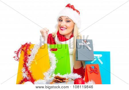 Smile Christmas Woman With Shopping Bags - Gift. Isolated On White, Close Up