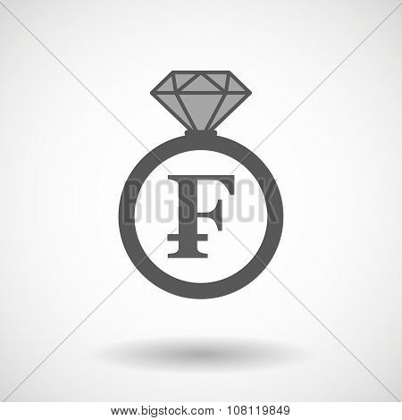 Isolated Vector Ring Icon With A Swiss Franc Sign