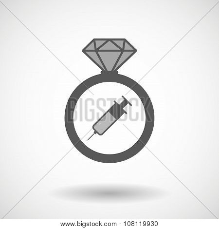 Isolated Vector Ring Icon With A Syringe