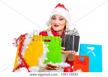Santa Claus Woman With Shopping Bags Holding Gift. Isolated On White, Close Up