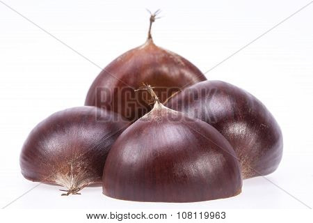 Some Fruits Of Sweet Chestnut Isolated On White Background