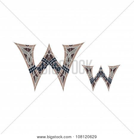 Low poly letter W in brown mosaic polygon