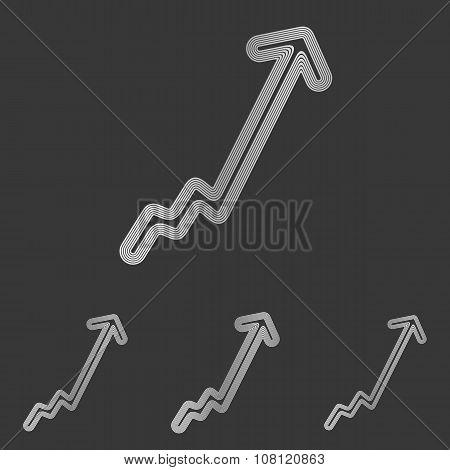 Silver line growth logo design set