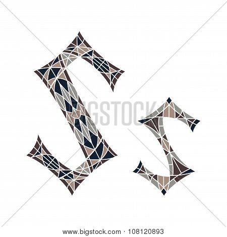 Low poly letter S in brown mosaic polygon