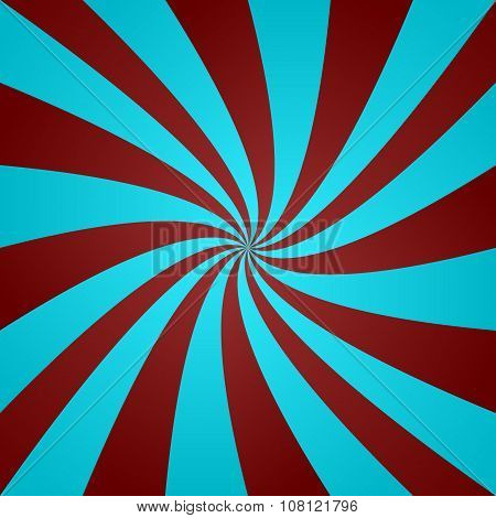 Light blue and red curved ray background