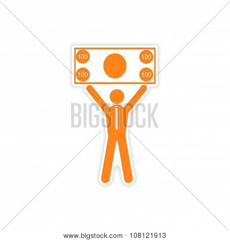 stylish sticker on paper man holding banknote