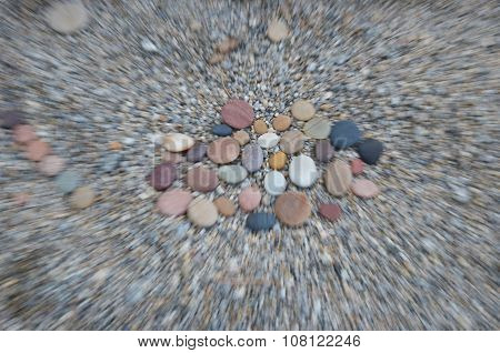 Colored Smooth Stones Polished By Baikal Lake Skillfully. Lense Effect