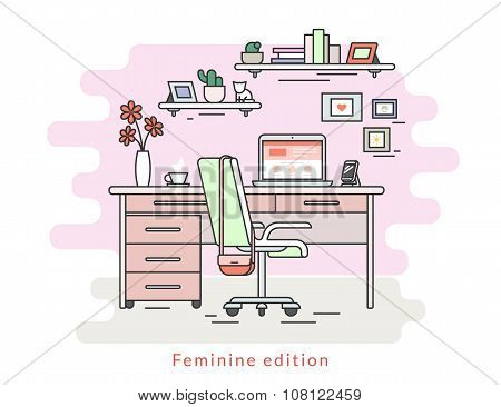 Feminine workplace room interior