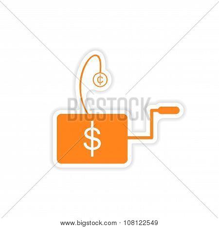 stylish sticker on paper Economic icon logo