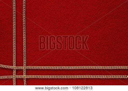 Red Background With Golden Chain