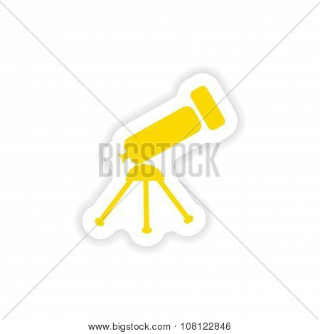 icon sticker realistic design on paper telescope