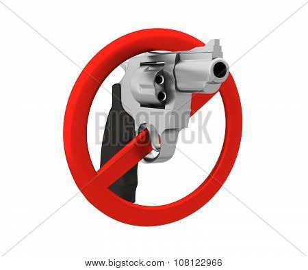 Sign Of The Ban - A Revolver. 3D Render. Isolated On White Backg