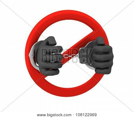 Sign Of The Ban - A Crime. 3D Render. Isolated On White Backgrou