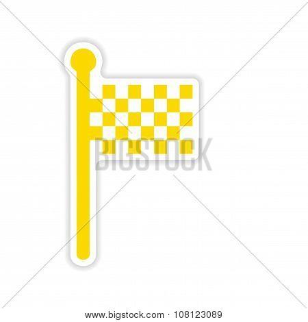 icon sticker realistic design on paper finish