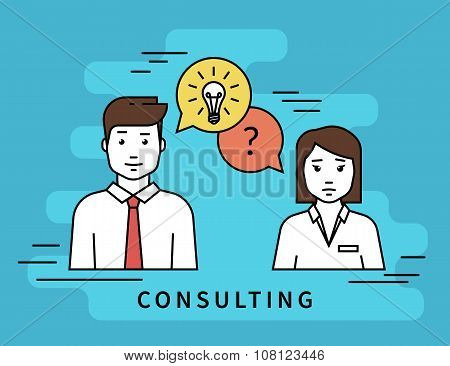 Business woman and male consultant with question