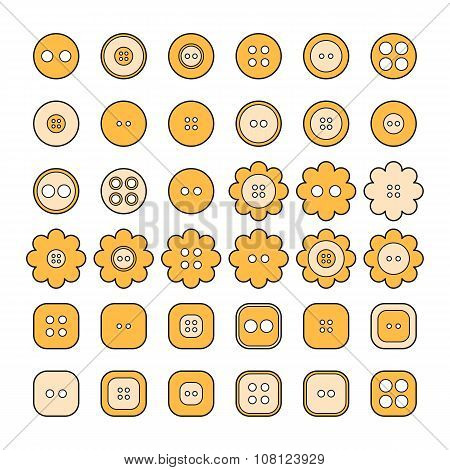 Set Of Sewing Buttons Of Different Shapes For Design, Infographic, Tutorial