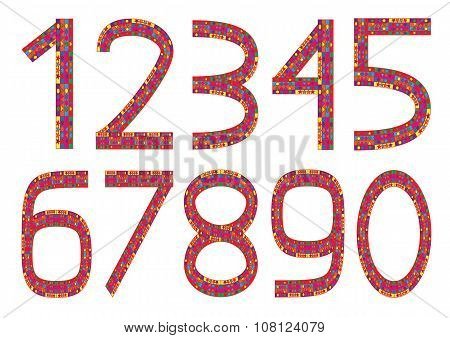 Set of ten colorful numbers
