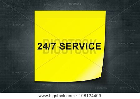 24 Hours A Day, 7 Days A Week Service Word On Yellow Note
