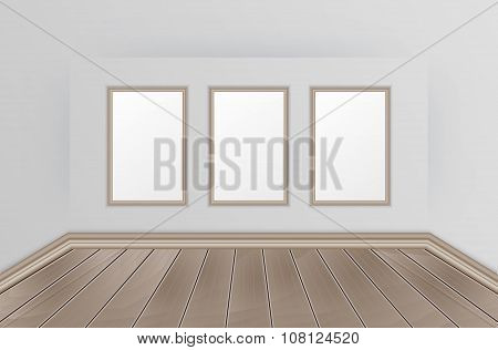 Empty interior with wooden floor and images for your slogan or text.