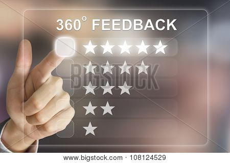 Business Hand Pushing 360 Degree Feedback On Virtual Screen