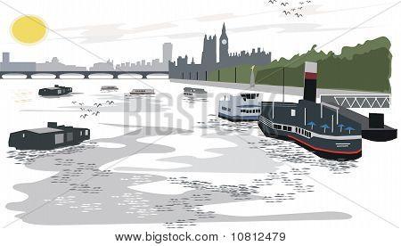 London Thames River illustration