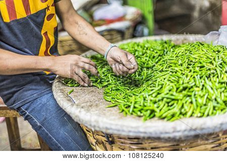 Chillies For Sale At Market,thailand
