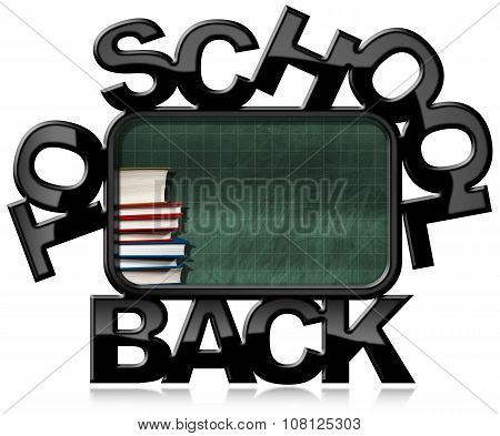 Back To School - Green Blackboard With Books