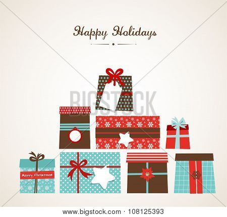 Vector Christmas illustration of the piles of presents on white background