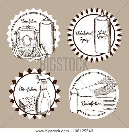 Sketch Set Of Disinfection Logo