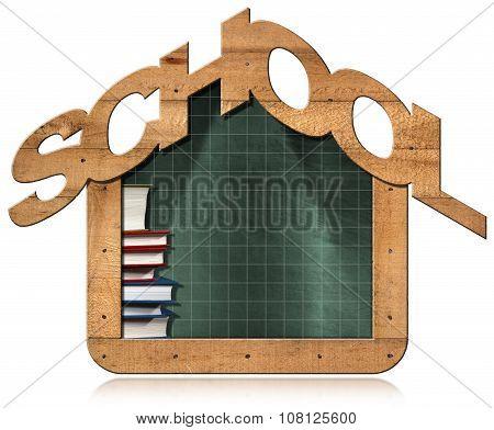 Blackboard - School Building Shaped